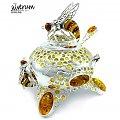 pszczoła na plastrach miodu - cukiernica - #owady #cukiernica #wizytownik #nóż #prezent #łyżeczka #srebrna #jubiler #bursztyn #Srebro #użytkowe