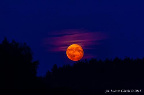 Krwawy księżyc #księżyc #wschód #Chojnice #krwawy #pomarańczowy #czerwony